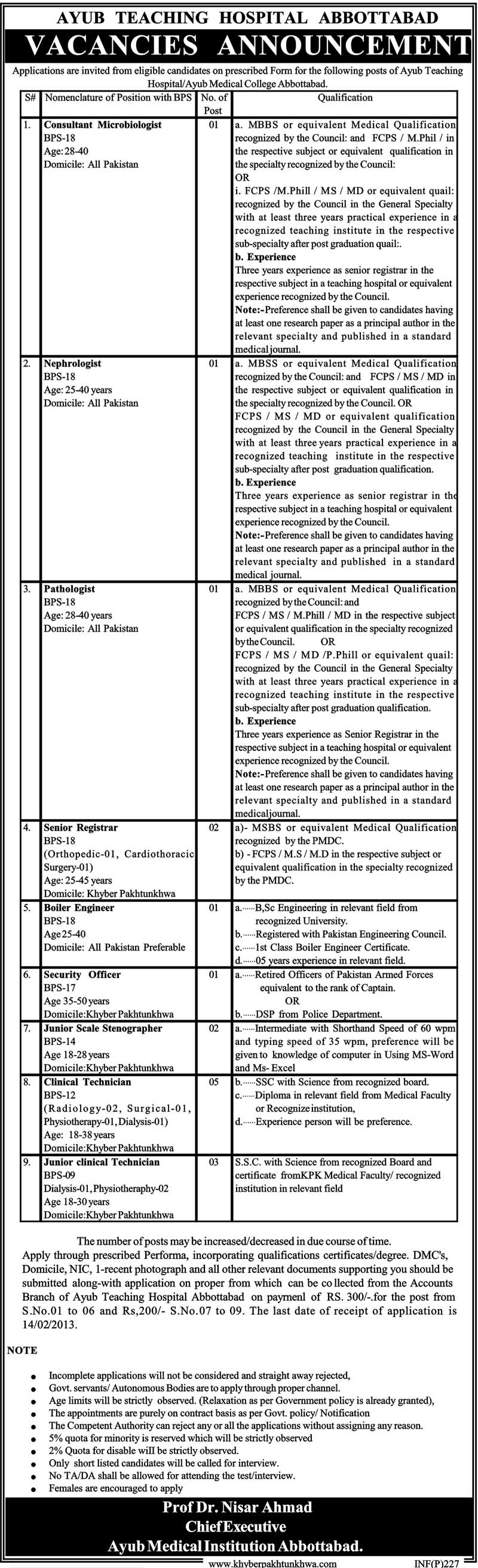 Jobs in Ayub Teaching Hospital Abbottabad (ATH)